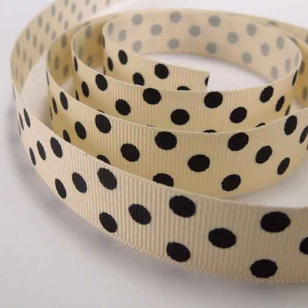 15 mm Black Polka Dot Grosgrain Ribbon, 5/8 inch Black on Cream Polka Dot Ribbon - Fabric and Ribbon