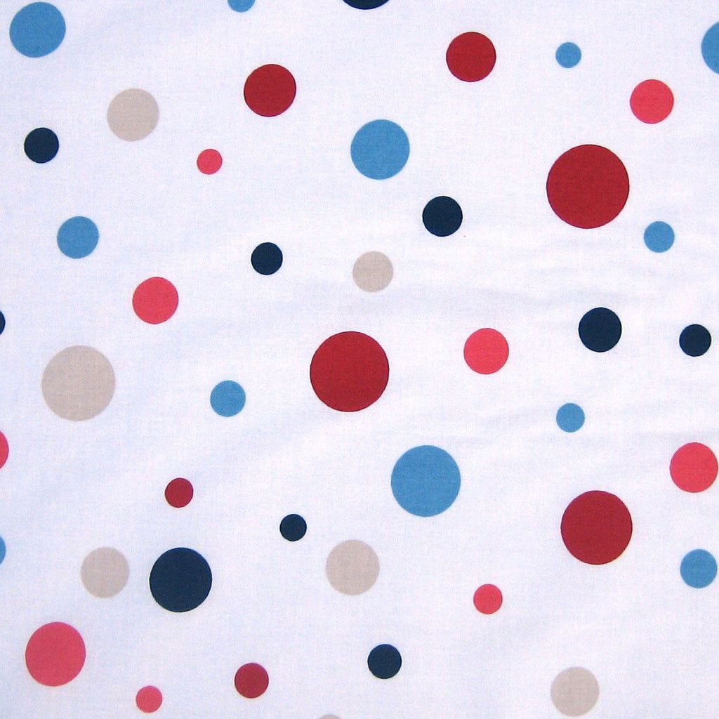 Spotty red and blue furnishing fabric by Globaltex