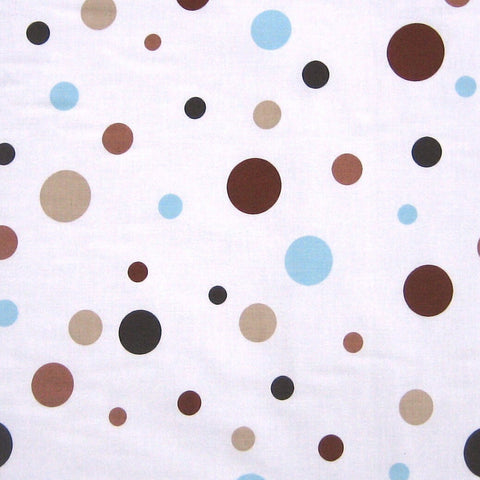 Spotty chocolate and sky furnishing fabric by Globaltex