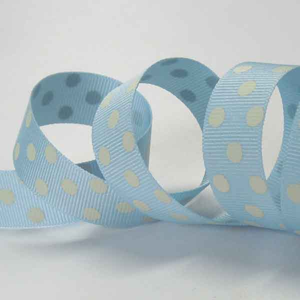 15 mm Pale Blue Polka Dot Grosgrain Ribbon, 5/8 inch Cream on Blue Spotty Ribbon
