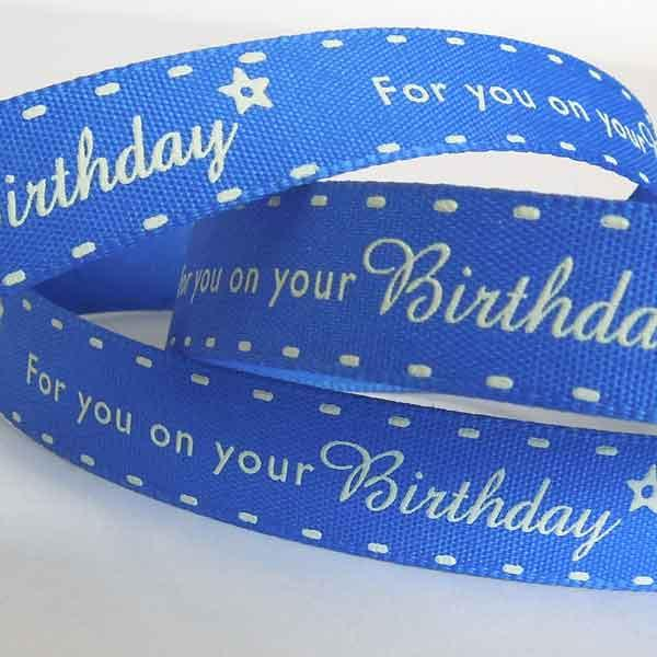 15 mm Blue Birthday Ribbon by Berisfords, 5/8 inch Blue Birthday and Party Fabric Ribbon