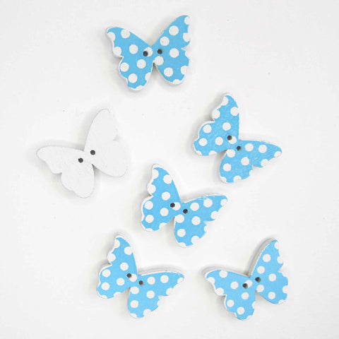 Blue Butterfly Wood Buttons, 2 Holes, Pack of 6 Buttons