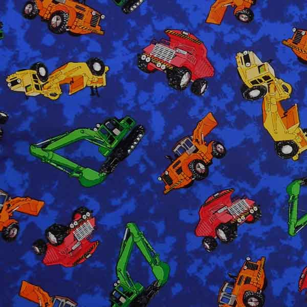 Kid's Blue Construction Truck Cotton Fabric by Timeless Treasures, Boy's Dump Trucks Pure Cotton Fabric