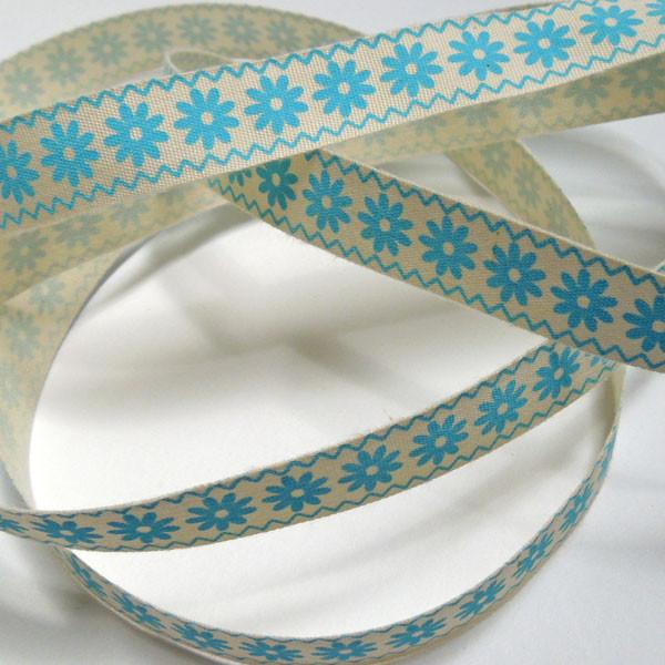 15 mm Blue Flowers Printed Cotton Ribbon, 5/8 inch Blue ZigZag Flowers Printed Natural Cotton Ribbon