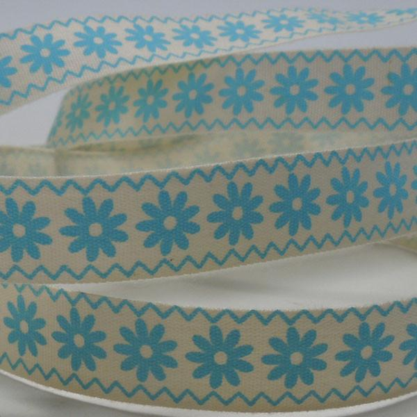 15 mm Blue Flowers Cotton Ribbon, 5/8 inch Pale Blue Daisy Natural Cotton Ribbon - Fabric and Ribbon