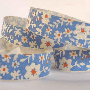 15 mm Flowers on Blue Cotton Ribbon, 5/8 inch Blue and Orange Floral Cotton Tape - Fabric and Ribbon