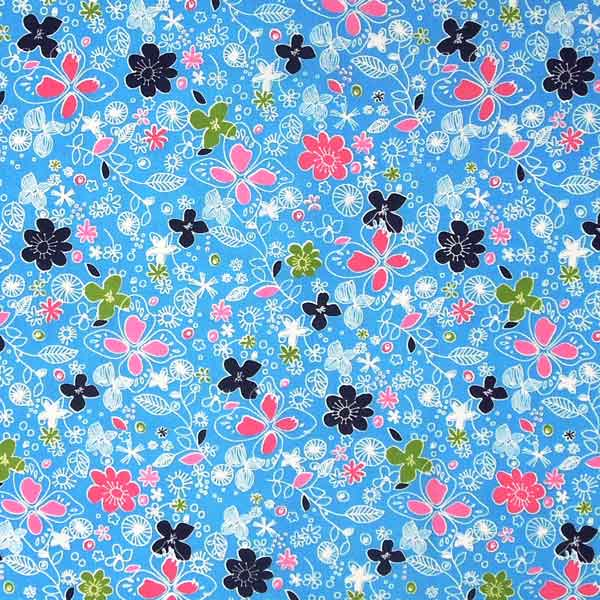 Pale Blue Flower Cotton Fabric, Light Blue Fabric with Pink, White and Dark Blue Flowers - Fabric and Ribbon