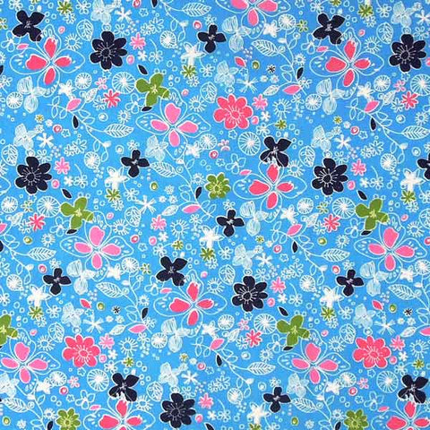 Pale Blue Flower Cotton Fabric, Light Blue Fabric with Pink, White and Dark Blue Flowers