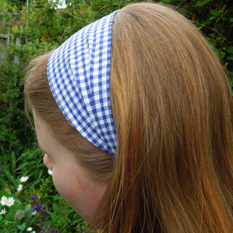 Girl's Pale Blue Checked Gingham Scrunchie and Hairband Organza Bag Gift Set Handmade in Pure Cotton - Fabric and Ribbon