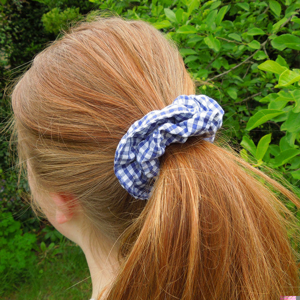 Girl's Pale Blue Checked Gingham Scrunchie and Hairband Organza Bag Gift Set Handmade in Pure Cotton