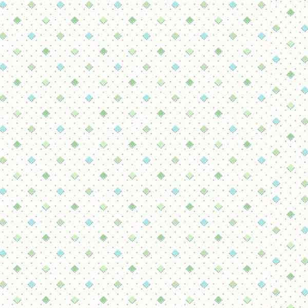 Cream Makower Fabric with blue and green diamonds