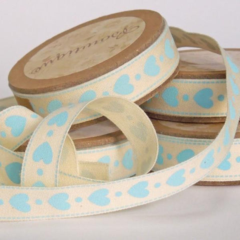 15 mm Valentine Blue Hearts Printed Cotton Ribbon, 5/8 inch Blue Hearts Printed Natural Cotton Ribbon