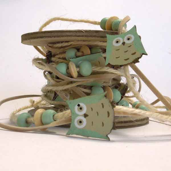 Blue Owl String and Suedette Trim, Wooden Owls for Friendship Bracelets, 3 metres on Wooden Spool - Fabric and Ribbon