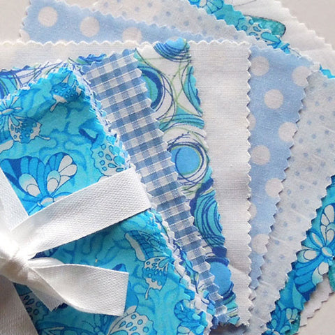 Blue patchwork fabric bundle