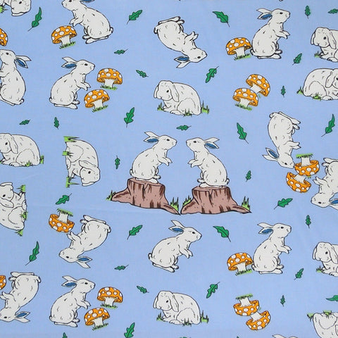 Kid's Rabbits on Blue Cotton Fabric, Blue Bunny Rabbit Cotton Fabric