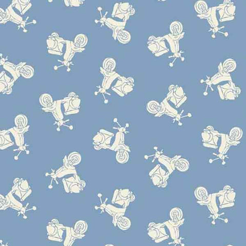 Blue Scooters Cotton Fabric by Makower, 1655/B, from their Vacation Collection