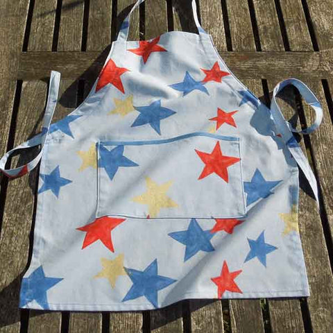 Toddler's Personalised Blue Retro Star Apron with Pocket, Handmade in Cotton, Ages 2 - 6 yrs - Fabric and Ribbon