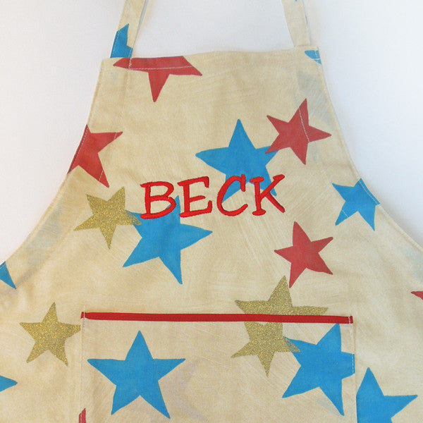 Young Child's Personalised Retro Star Apron with Pocket, Children's Personalised Cotton Star Apron, Ages 2 - 6 yrs