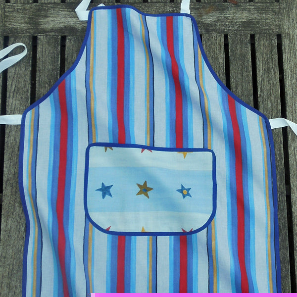 Older Child's Personalised Apron, Kid's Blue Stripe Apron with Pocket, Handmade in Pure Cotton, Ages 7 - 12 yrs