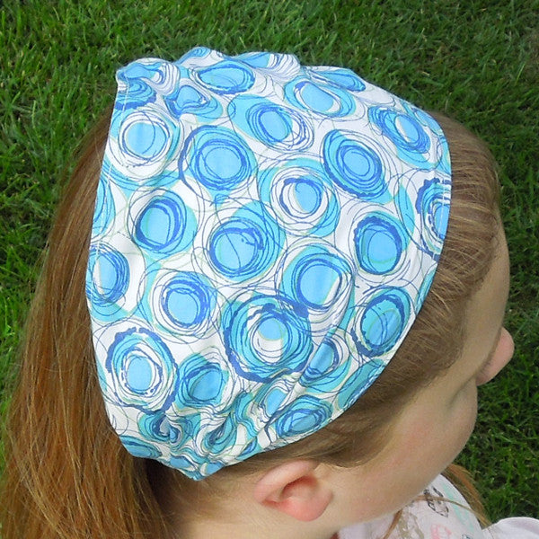 Girl's Blue Circles Scrunchie, Hairband and Bandana Organza Bag Gift Set Handmade in Pure Cotton - Fabric and Ribbon