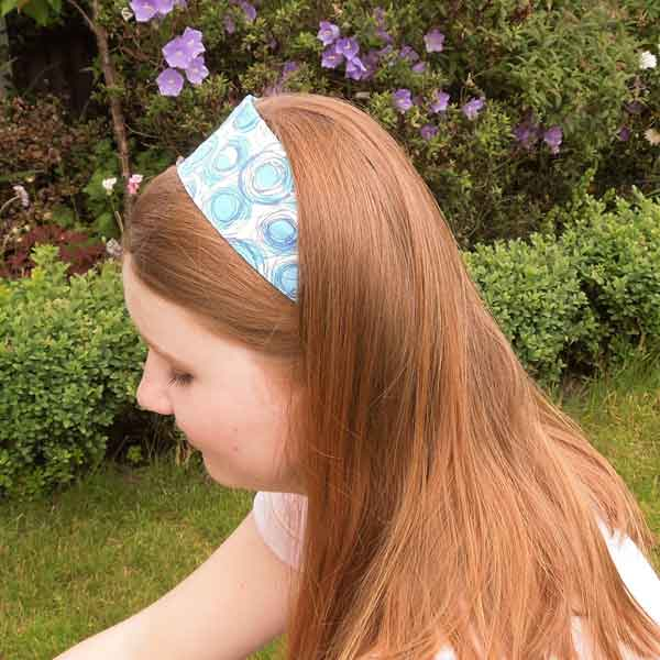 Blue Swirls Scrunchie, Hairband and Bandana in Organza Gift Bag