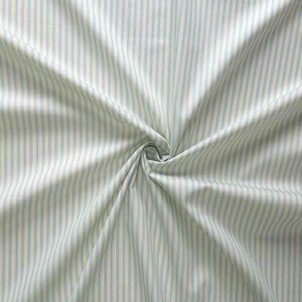 Light Blue and Cream Ticking Stripe Cotton Fabric by Rose & Hubble