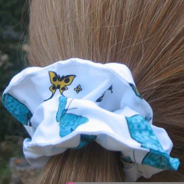 Girl's White and Blue Butterfly Scrunchie, Hairband and Bandanna plus Organza Gift Bag, Handmade in Pure Cotton