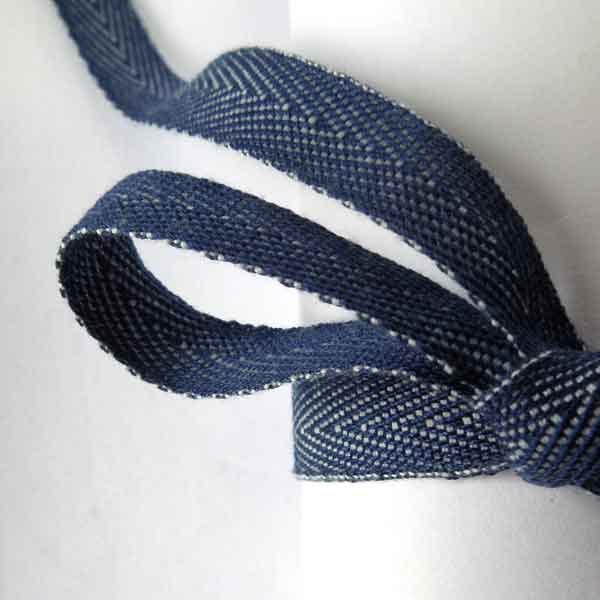 10 mm Blue Denim Ribbon by La Stephanoise, 3/8 inch Navy Blue Denim Herringbone Ribbon