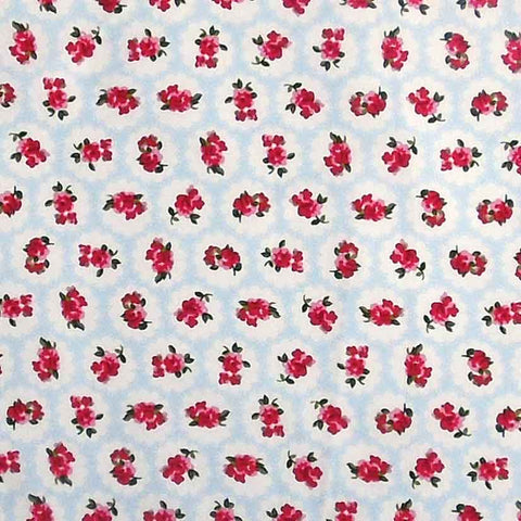 Blue and Red Rose Cotton Fabric by Rose & Hubble, Red Roses on Pale Blue and White, Vintage Blue Flower Fabric, Blue Flower Fabric