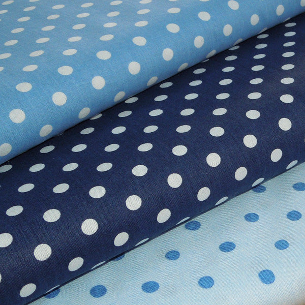 Mid Blue Polka Dot Fabric, Cornflower Blue and White Polka Dot Cotton Fabric, Pale Blue Spotty Cotton Fabric - Fabric and Ribbon
