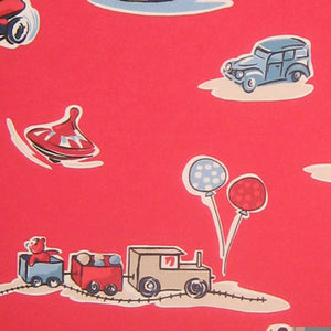 Red Boys' Toys Furnishing Fabric by Clarke and Clarke (formerly Globaltex), Playtime Collection - Fabric and Ribbon