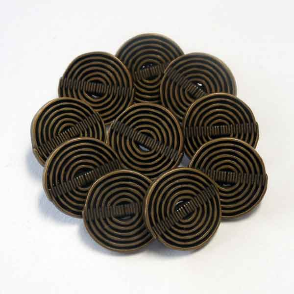 15 mm Bronze Metal Buttons, Pack of 10 Small Bronze Swirl Metal Shank Buttons for Crafts and Sewing