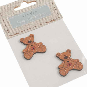 30 mm Brown Teddy Buttons,  Baby Wooden Teddy Buttons, Pack of 2  Love Heart Teddy Bear Craft Buttons - Fabric and Ribbon