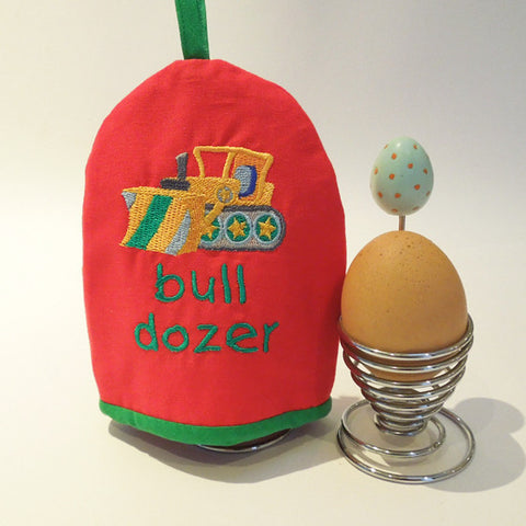 Red Egg Cosy, Boy's Bulldozer Egg Cozy in pure cotton. Embroidered Truck Design and Handmade in Pure Cotton