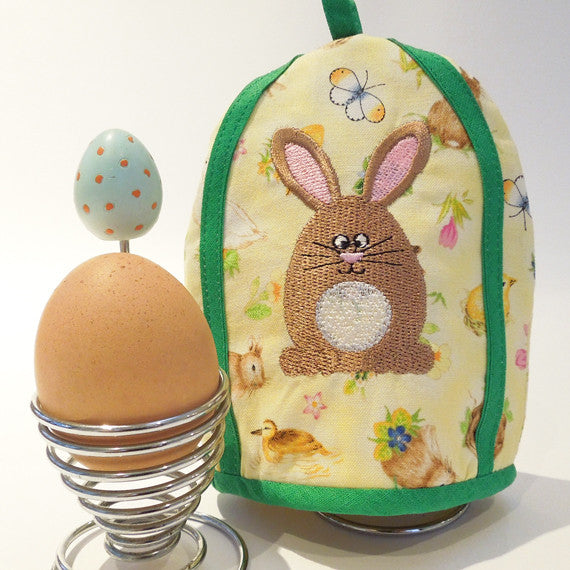 Kid's Yellow Bunny Rabbit Egg Cosy, Handmade and Embroidered Easter Bunny Egg Cosy