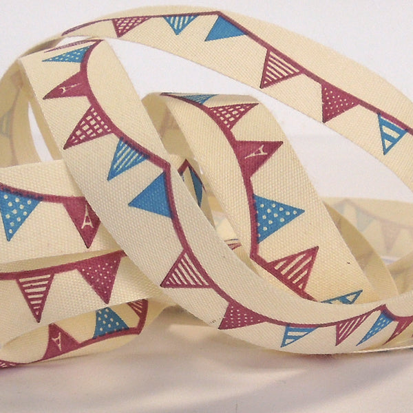 15 mm Blue and Red Bunting Cotton Ribbon