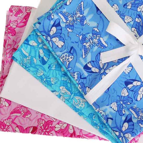Fat Quarter Pack, Butterfly Fat Quarter Bundle, 4 Coloured Butterfly and Plain Fat Quarters - Fabric and Ribbon