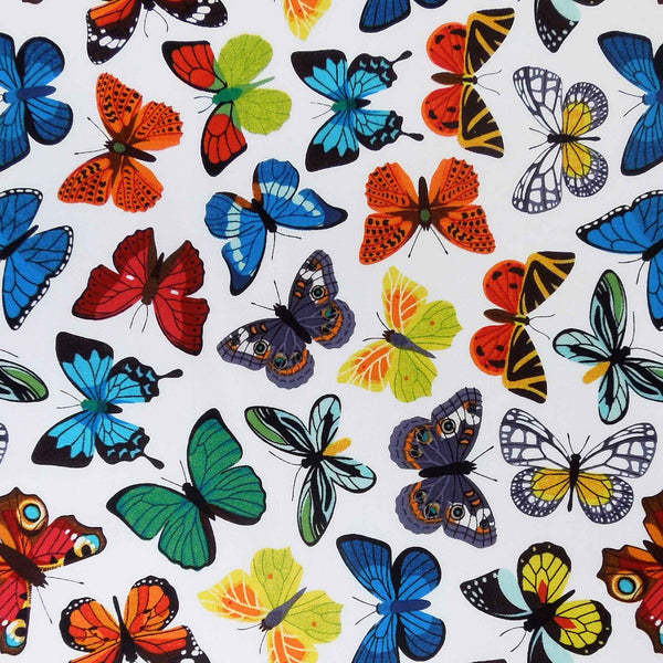 Bright Coloured Butterfly Fabric, Multicoloured Butterflies Cotton Fabric - Fabric and Ribbon