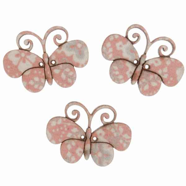25 mm Pink Butterfly Buttons,  Wooden Butterfly Buttons, Pack of 3 Patterned Butterfly Craft Buttons - Fabric and Ribbon
