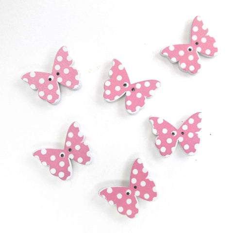 Pink Butterfly Wood Buttons, 2 Holes, Pack of 6 Buttons