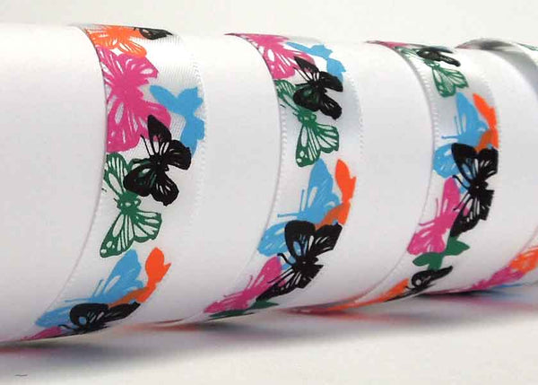 15 mm Coloured Butterfly Satin Ribbon, 5/8 inch Multicoloured Butterfly Ribbon - Fabric and Ribbon