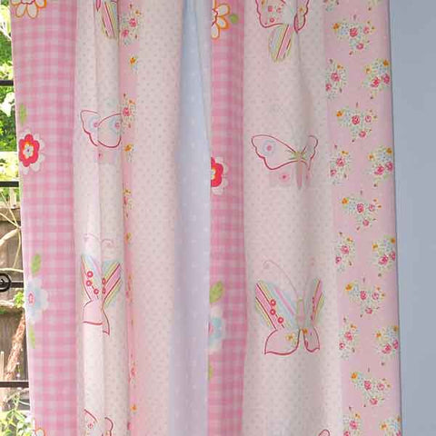 Butterfly Stripe by Clarke and Clarke, part of the Flutterby Collection, Pink Butterfly Cotton Furnishing Fabric,