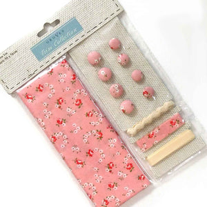 Pink Flower Cotton Fabric Craft Pack - Fabric and Ribbon
