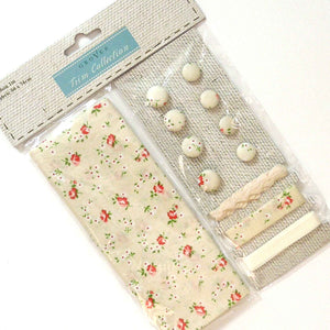 Cream Flower Cotton Fabric Craft Pack - Fabric and Ribbon