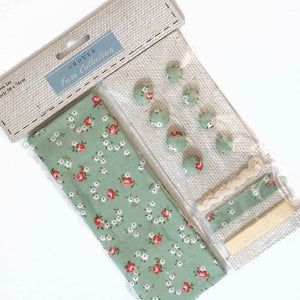 Green Flower Cotton Fabric Craft Pack - Fabric and Ribbon