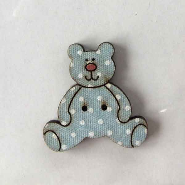 25 mm Blue Teddy Buttons,  DU4699, Baby Wooden Teddy Bear Buttons, Pack of 2  Kid's Craft Buttons - Fabric and Ribbon
