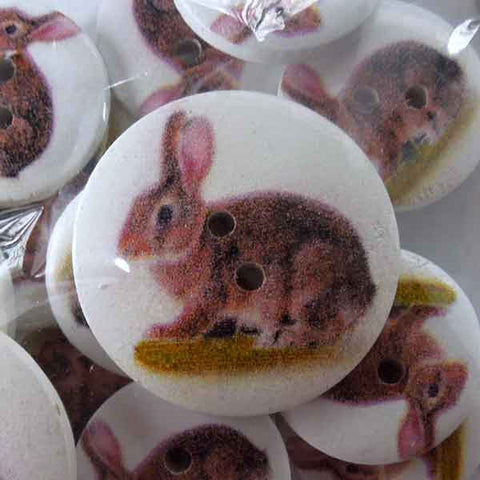 Rabbit Craft Buttons, Painted Wood Craft Buttons, Pack of 18 mm and 25 mm Buttons - Fabric and Ribbon