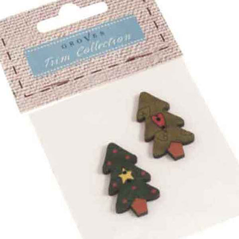 20 mm Christmas Tree Wooden Buttons, Pack of 2 Green Xmas Tree Fabric Covered Buttons - Fabric and Ribbon