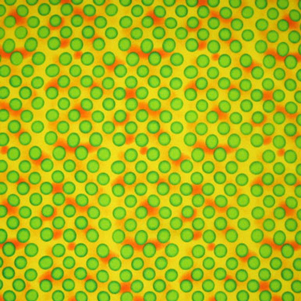 Green Polka Dots on Yellow Cotton Fabric, Green and Yellow Polka Dot Patterned Fabric