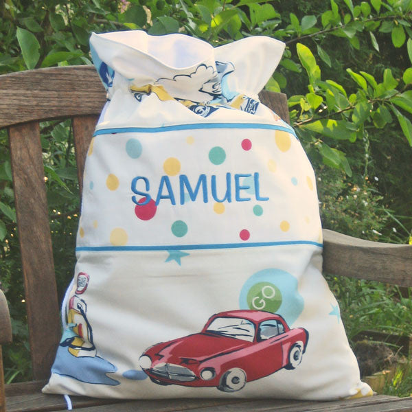 Child's Personalised White Classic Cars Toy Sack,  Kid's Reversible White Retro Drawstring Storage Bag - Fabric and Ribbon